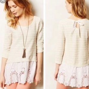 SALE! 3/4 sleeve sweater with lace detail hem